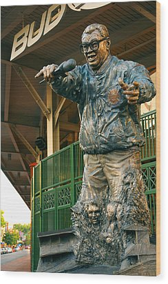 Harry Caray Wood Print