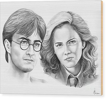 Harry Potter And Hermione Wood Print by Murphy Elliott