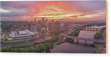 Hartford Ct Downtown Sunset Aerial Panorama Wood Print