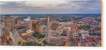 Hartford Ct Downtown Twilight Panorama Wood Print