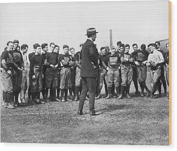 Harvard Football Practice Wood Print by Underwood Archives