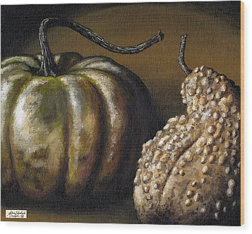 Harvest Gourds Wood Print by Adam Zebediah Joseph