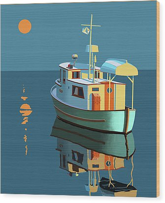 Wood Print featuring the painting Harvest Moon by Gary Giacomelli