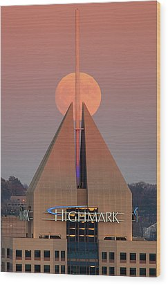 Wood Print featuring the photograph Harvest Moon In Pittsburgh  by Emmanuel Panagiotakis
