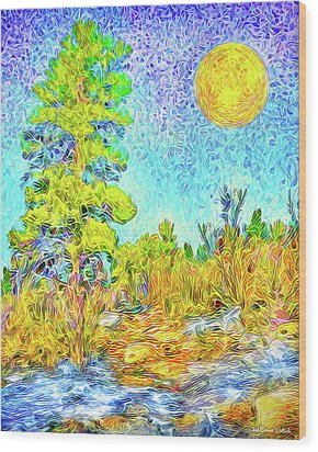 Wood Print featuring the digital art Harvest Moon On Crystal Mountain - Boulder County Colorado by Joel Bruce Wallach