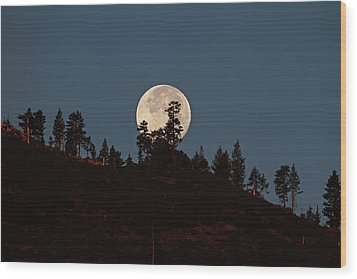 Harvest Moonset Wood Print by Donna Kennedy