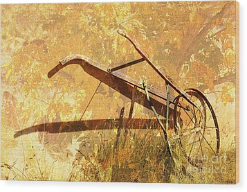 Harvest Plow Wood Print