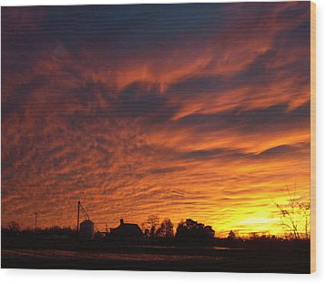 Harvest Sky Wood Print by Traci Goebel