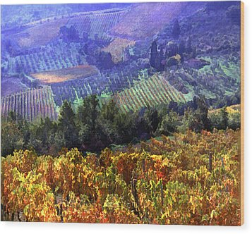 Harvest Time At The Vineyard Wood Print by Elaine Plesser