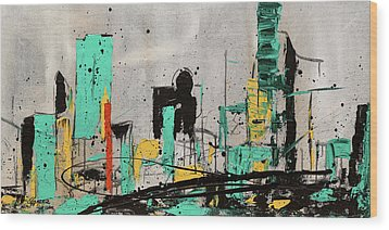 Wood Print featuring the painting Hashtag City by Carmen Guedez