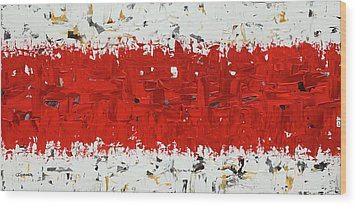 Wood Print featuring the painting Hashtag Red - Abstract Art by Carmen Guedez