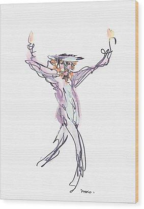 Hasidic Dancer Wood Print