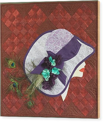 Wood Print featuring the tapestry - textile Hat Trick by Jo Baner