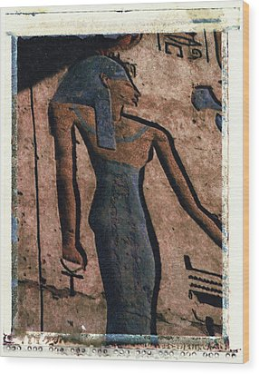 Hathor Holding The Ankh Sign Wood Print by Bernice Williams