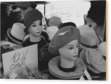 Hats And Heads Wood Print by Tony Grider