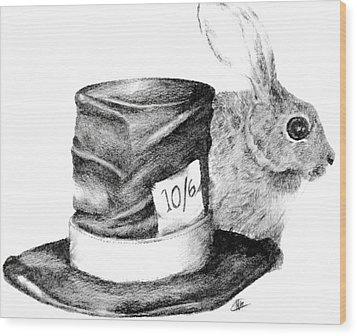 Wood Print featuring the drawing Hatter And The Hare by Meagan  Visser