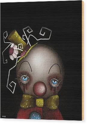Hatter Clown Wood Print by  Abril Andrade Griffith
