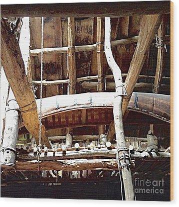Haudenosaunee Longhouse  Wood Print by Ellen Levinson