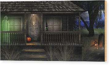 Wood Print featuring the digital art Haunted Halloween 2016 by Anthony Citro
