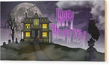 Wood Print featuring the digital art Haunted Halloween by Anthony Citro