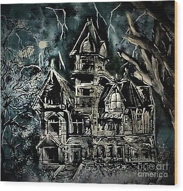 Haunted House Wood Print