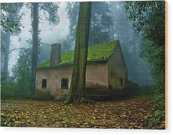 Haunted House Wood Print by Jorge Maia