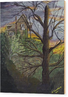 Haunted House Wood Print by Quwatha Valentine