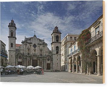 Havana Cathedral. Cuba Wood Print by Juan Carlos Ferro Duque