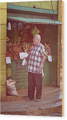 Wood Print featuring the photograph Havana Cuba Corner Market by Joan Carroll