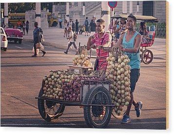 Wood Print featuring the photograph Havana Cuba Onion Cart by Joan Carroll