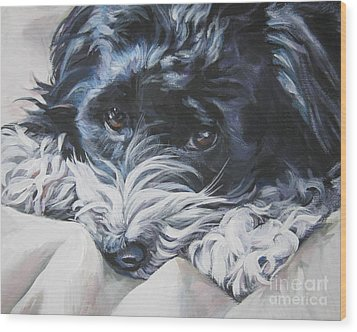 Havanese Black And White Wood Print