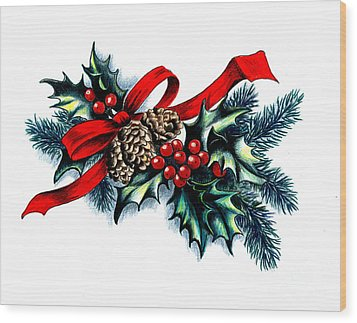 Have A Holly Holly Christmas Wood Print by Tobi Czumak
