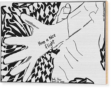 Have A Nice Flight....maze Cartoon By Yonatan Frimer Wood Print by Yonatan Frimer Maze Artist