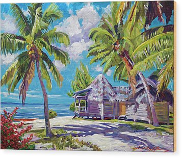 Hawaii Beach Shack Wood Print by David Lloyd Glover
