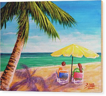 Hawaii Beach Yellow Umbrella #470 Wood Print by Donald k Hall