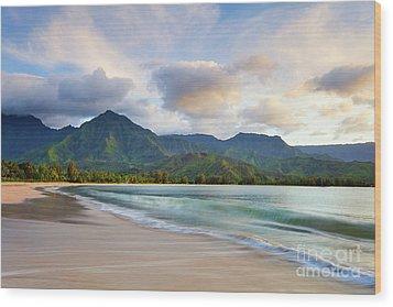 Hawaii Hanalei Dreams Wood Print by Monica and Michael Sweet