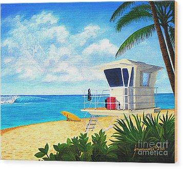 Hawaii North Shore Banzai Pipeline Wood Print by Jerome Stumphauzer