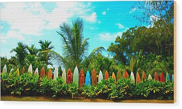 Hawaii Surfboard Fence Photograph  Wood Print by Michael Ledray