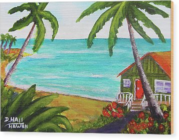 Hawaii Tropical Beach Art Prints Painting #418 Wood Print by Donald k Hall
