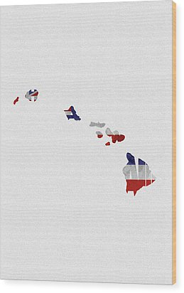 Wood Print featuring the painting Hawaii Typographic Map Flag by Inspirowl Design