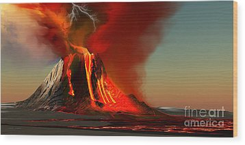 Hawaii Volcano Wood Print by Corey Ford