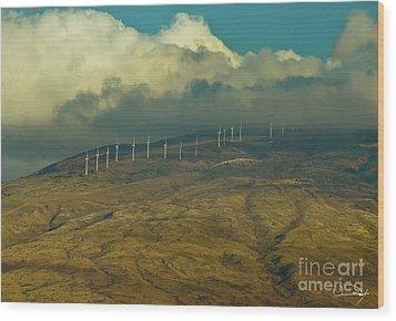 Hawaii Windmills On Maui One Wood Print by Vance Fox