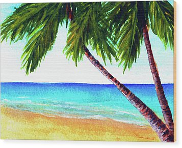Hawaiian Beach Palm Trees  #425 Wood Print by Donald k Hall
