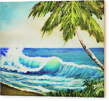 Hawaiian Beach Wave #420 Wood Print by Donald k Hall