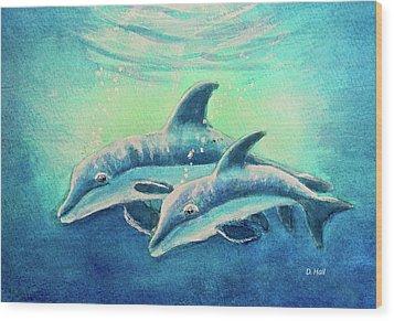 Hawaiian Dolphins  #389 Wood Print by Donald k Hall