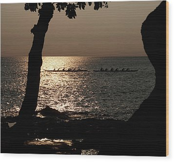 Hawaiian Dugout Canoe Race At Sunset Wood Print by Michael Bessler