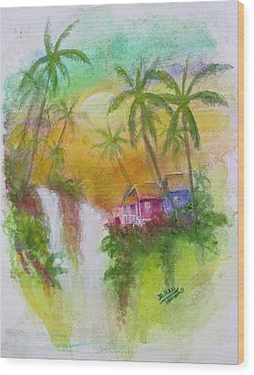 Hawaiian Homestead In The Valley #460 Wood Print by Donald k Hall