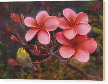 Wood Print featuring the painting Hawaiian Pink Plumeria And Amakihi Bird by Karen Whitworth