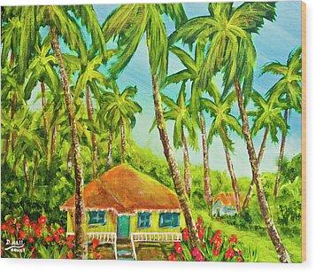 Hawaiian Plantation Home #390 Wood Print by Donald k Hall