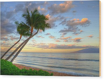 Hawaiian Sunrise Wood Print by Kelly Wade